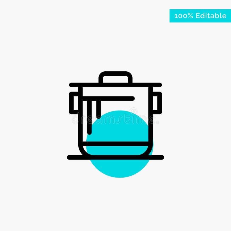 Κουζίνα, κουζίνα, ρύζι, διανυσματικό εικονίδιο σημείου κυριώτερων κύκλων Cook τυρκουάζ διανυσματική απεικόνιση