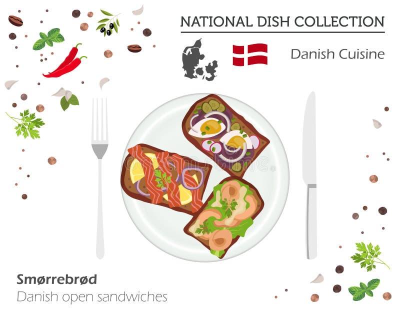 Κουζίνα της Δανίας Ευρωπαϊκή εθνική συλλογή πιάτων Δανικά ανοικτά απεικόνιση αποθεμάτων