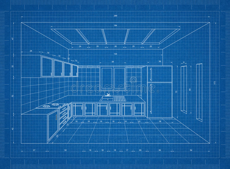 Κουζίνα τρισδιάστατη προοπτική σχεδιαγραμμάτων †« διανυσματική απεικόνιση