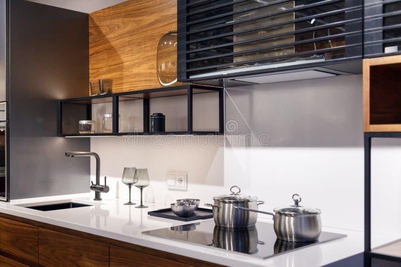 Κουζίνα ύφους της Ρωσίας Novosibirsk 2019-02-09 πολυσύνθετη σύγχρονη με τις οικιακές συσκευές, τα ράφια και τον εξοπλισμό Κατάστη στοκ φωτογραφία με δικαίωμα ελεύθερης χρήσης