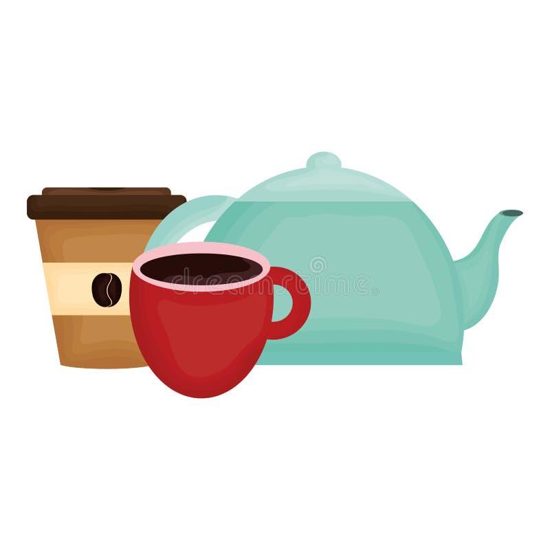 Κουζινών teapot και καφέ ποτά διανυσματική απεικόνιση