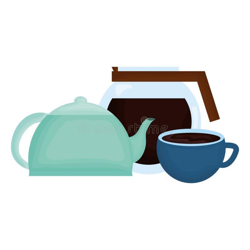 Κουζινών teapot και καφέ ποτά απεικόνιση αποθεμάτων