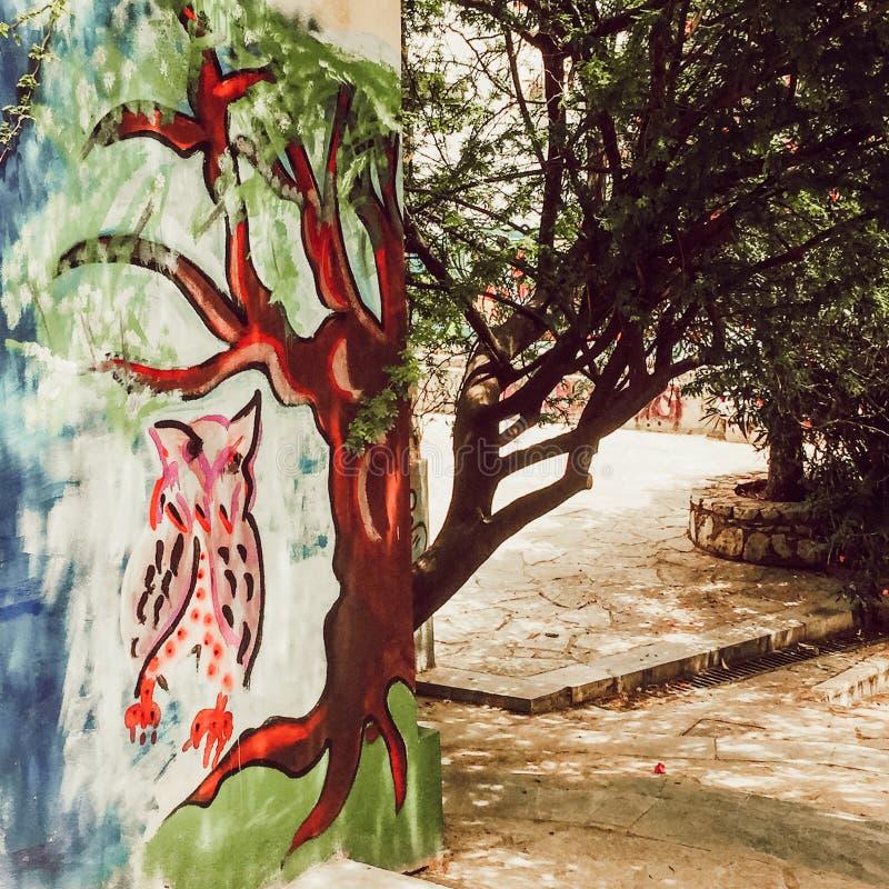 Κουκουβάγια και δέντρο Πλάκα Αθήνα Ελλάδα γκράφιτι στοκ φωτογραφίες