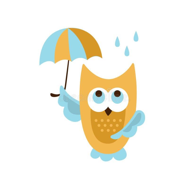Κουκουβάγια με την ομπρέλα κάτω από τη βροχή απεικόνιση αποθεμάτων