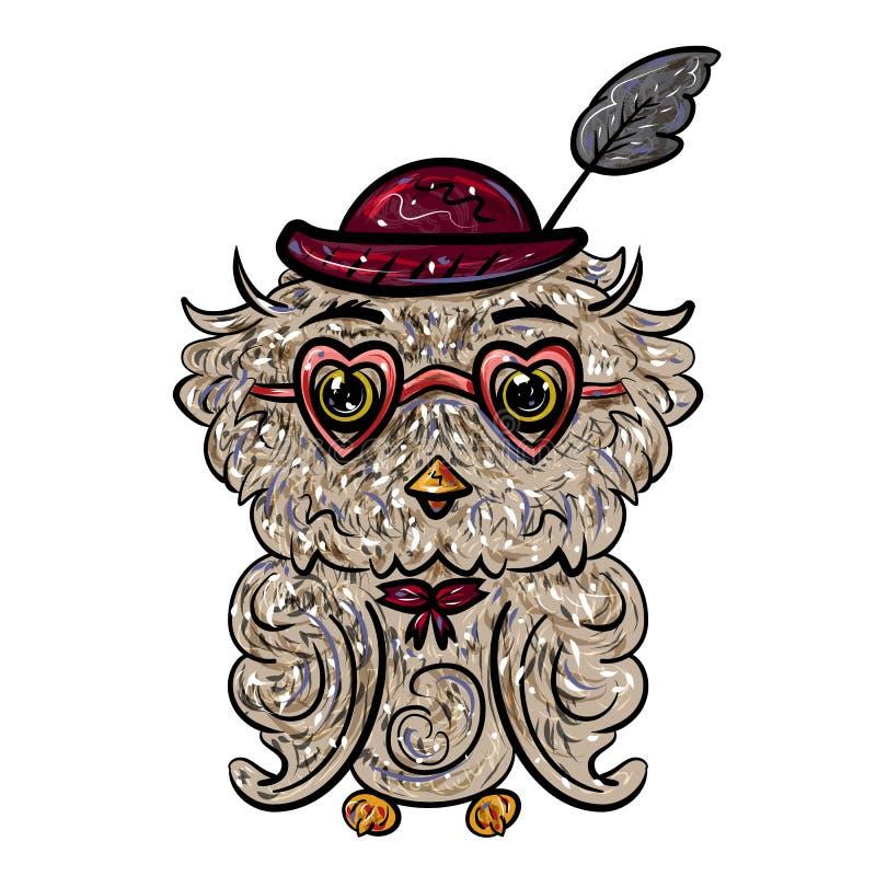 Κουκουβάγια σε ένα καπέλο με ένα φτερό και τα γυαλιά με τις καρδιές Απομονωμένος στο λευκό βαλεντίνος ημέρας s Γιορτή της αγάπης  διανυσματική απεικόνιση