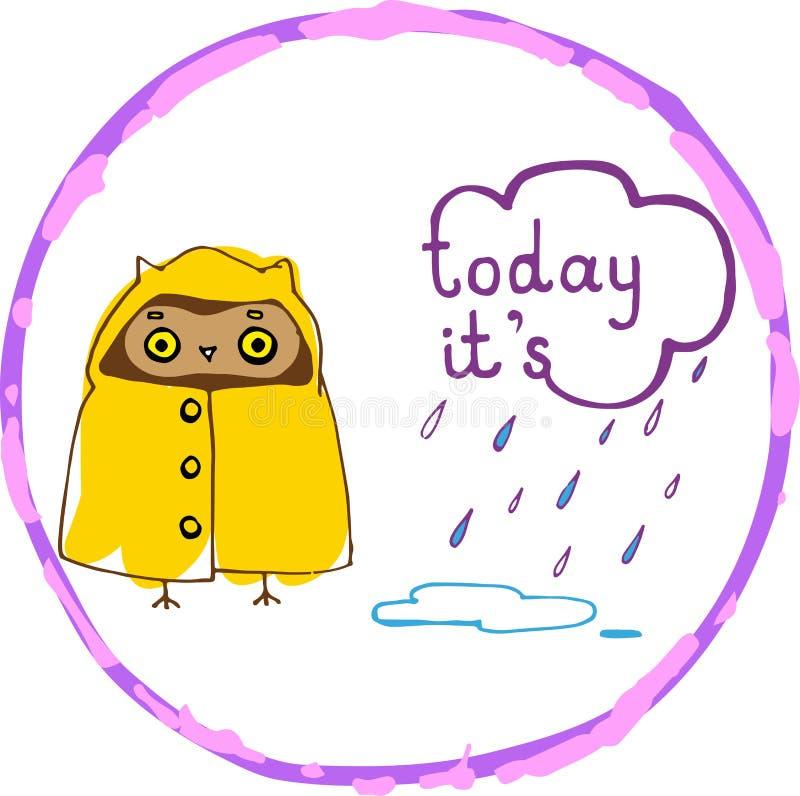 Κουκουβάγια στη βροχή ελεύθερη απεικόνιση δικαιώματος