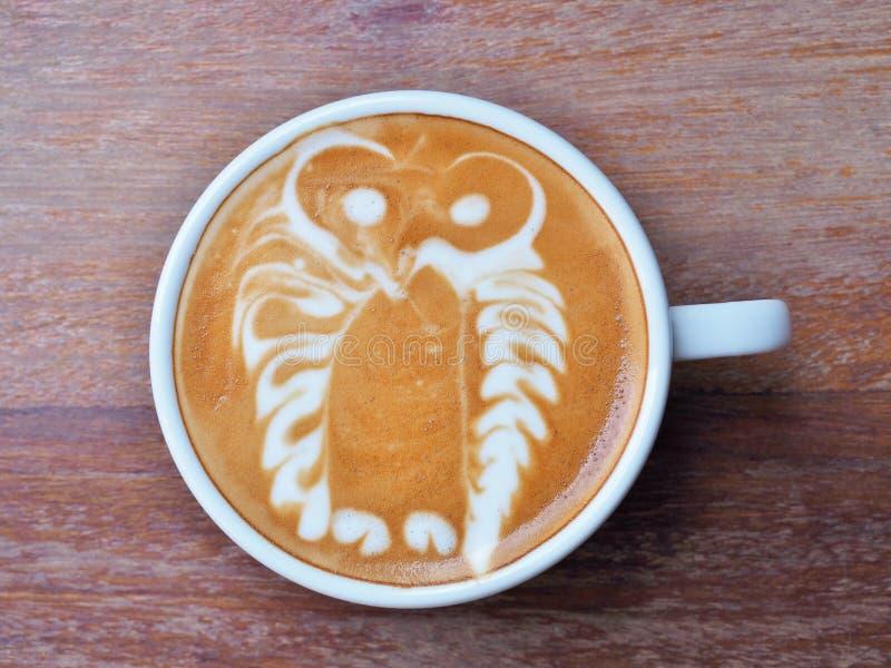Κουκουβάγια τέχνης καφέ Latte στοκ φωτογραφίες με δικαίωμα ελεύθερης χρήσης