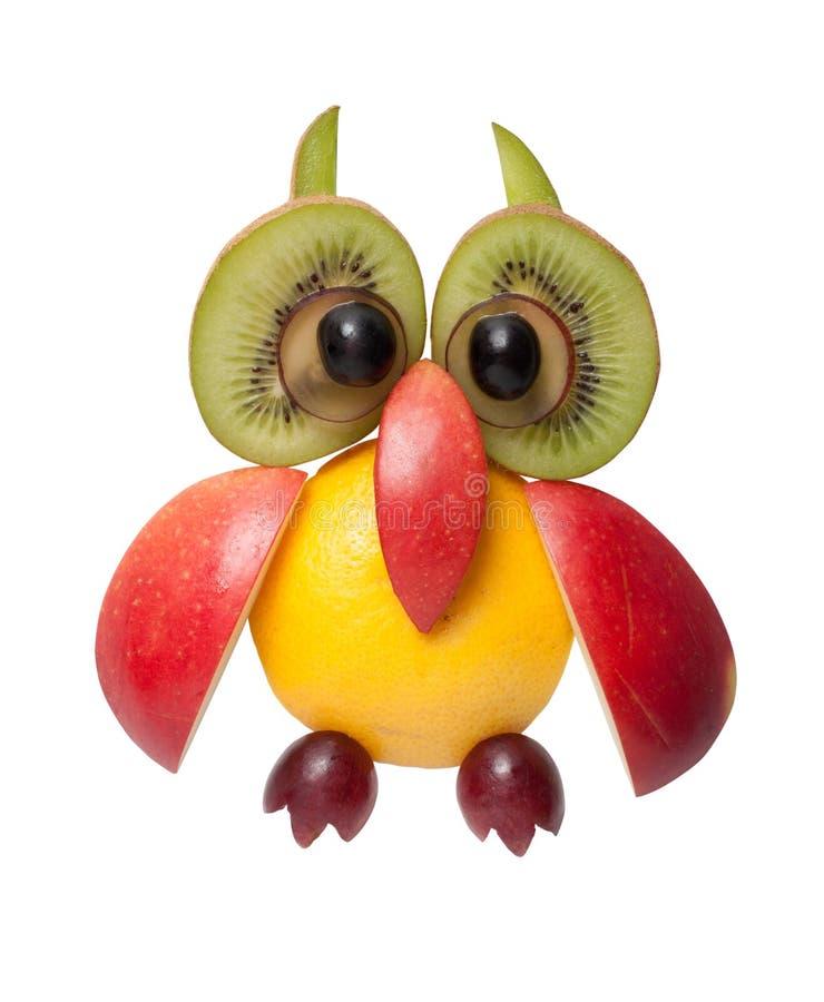 Κουκουβάγια φιαγμένη από μήλο, σταφύλι και ακτινίδιο στοκ φωτογραφίες με δικαίωμα ελεύθερης χρήσης