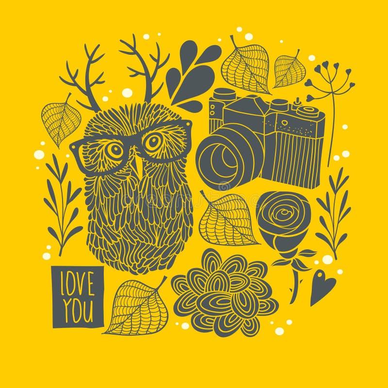 Κουκουβάγια eyeglasses με τα κέρατα στο υπόβαθρο φθινοπώρου διανυσματική απεικόνιση