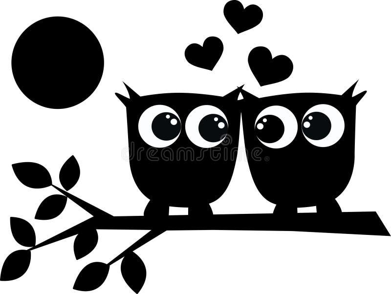 κουκουβάγιες δύο αγάπης διανυσματική απεικόνιση
