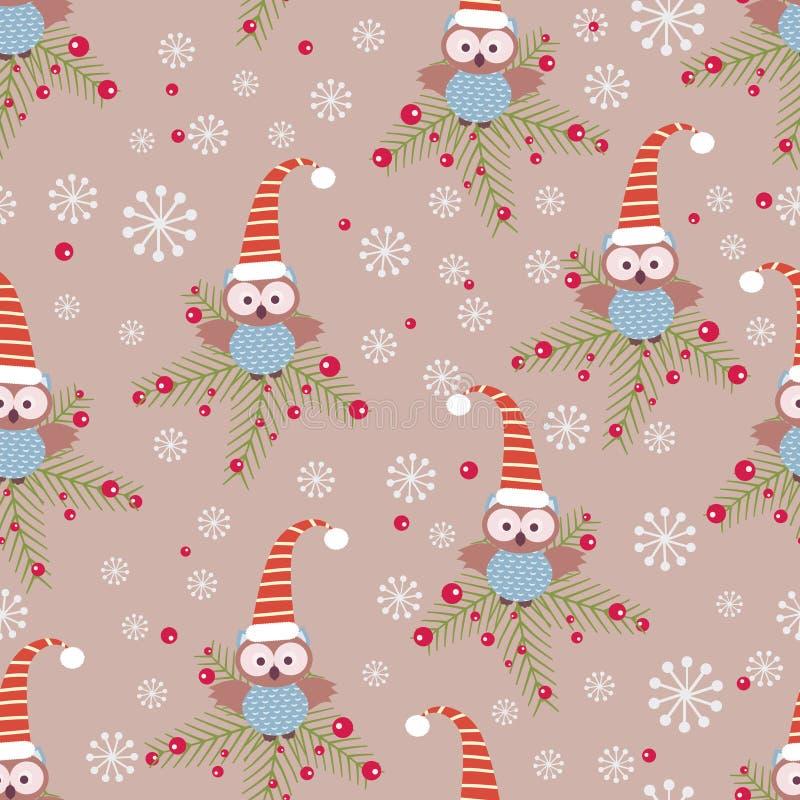 Κουκουβάγιες Χριστουγέννων διανυσματική απεικόνιση