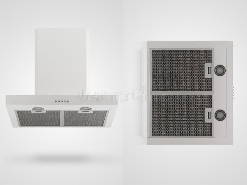 Κουκούλα κουζινών σε ένα άσπρο υπόβαθρο στοκ φωτογραφία