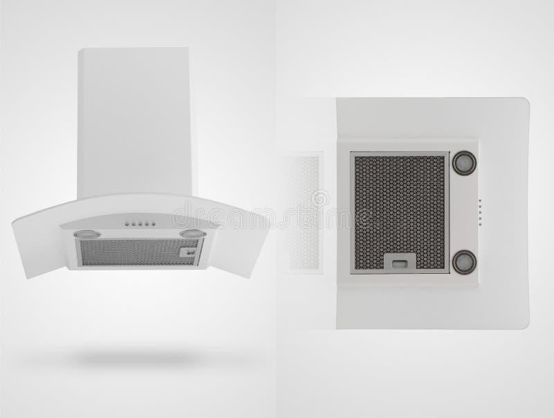 Κουκούλα κουζινών σε ένα άσπρο υπόβαθρο στοκ φωτογραφίες