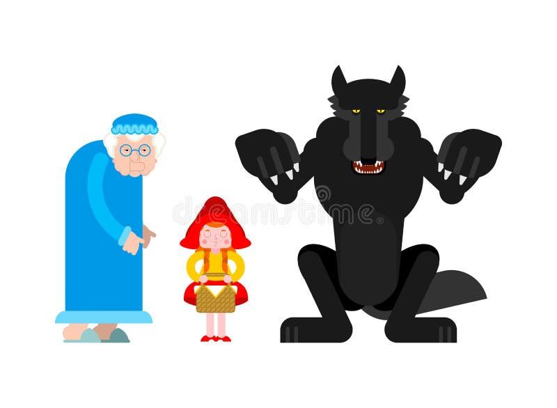 κουκούλα λίγο κόκκινο σύνολο οδήγησης Γιαγιά και εγγονή Λύκος ελεύθερη απεικόνιση δικαιώματος