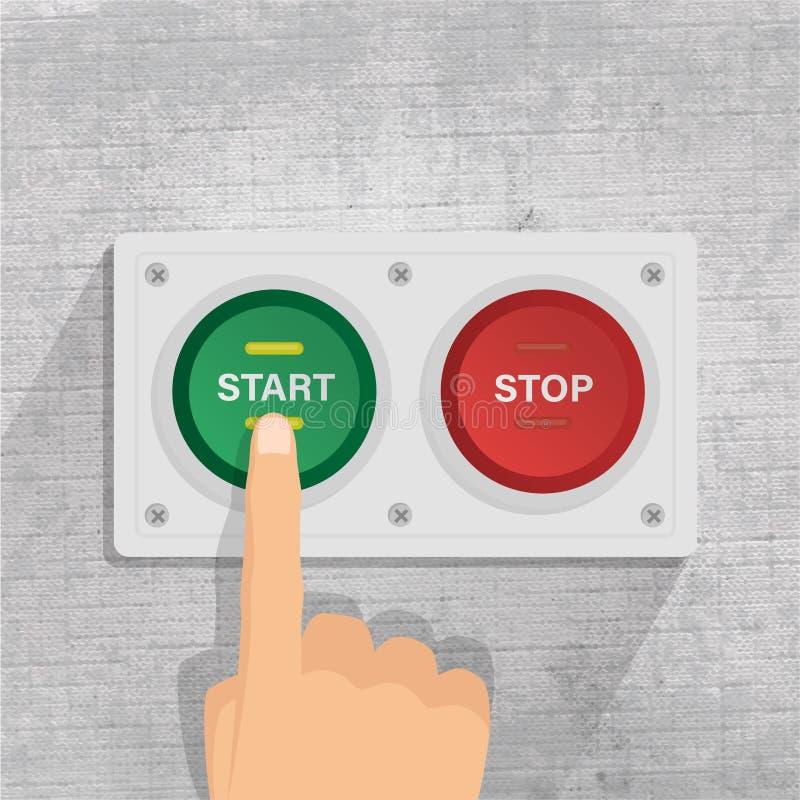 Κουμπί έναρξης και στάσεων πιέζοντας κουμπί έναρξης δάχτυλων : ελεύθερη απεικόνιση δικαιώματος