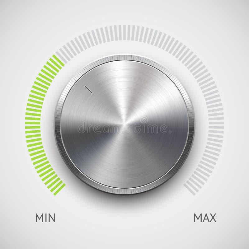 Κουμπί έντασης του ήχου (εξόγκωμα) με τη σύσταση μετάλλων (χρώμιο) απεικόνιση αποθεμάτων