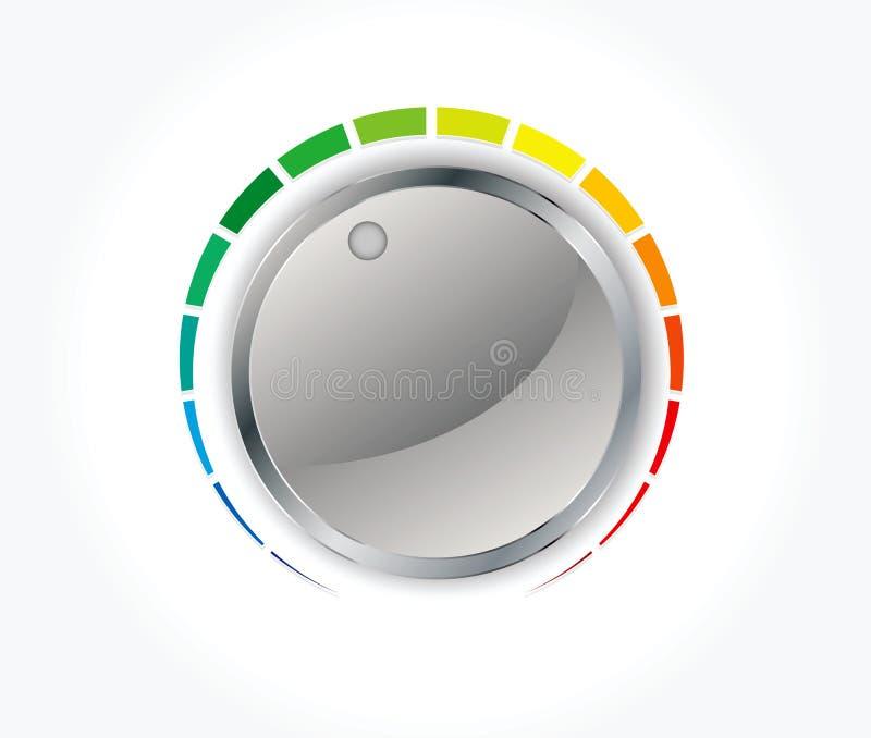 Κουμπί έντασης του ήχου (εξόγκωμα μουσικής) με τη σύσταση μετάλλων διανυσματική απεικόνιση