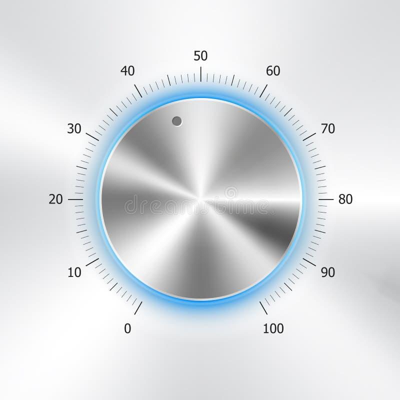 Κουμπί έντασης του ήχου (εξόγκωμα μουσικής) με τη σύσταση μετάλλων απεικόνιση αποθεμάτων