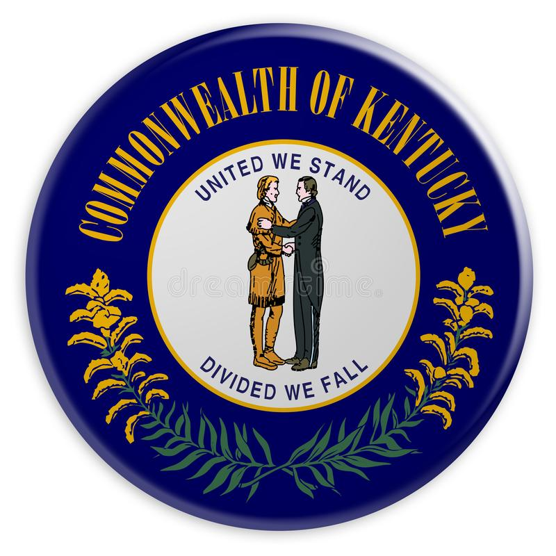 Κουμπί αμερικανικού κράτους: Τρισδιάστατη απεικόνιση διακριτικών σημαιών του Κεντάκυ στο άσπρο υπόβαθρο διανυσματική απεικόνιση