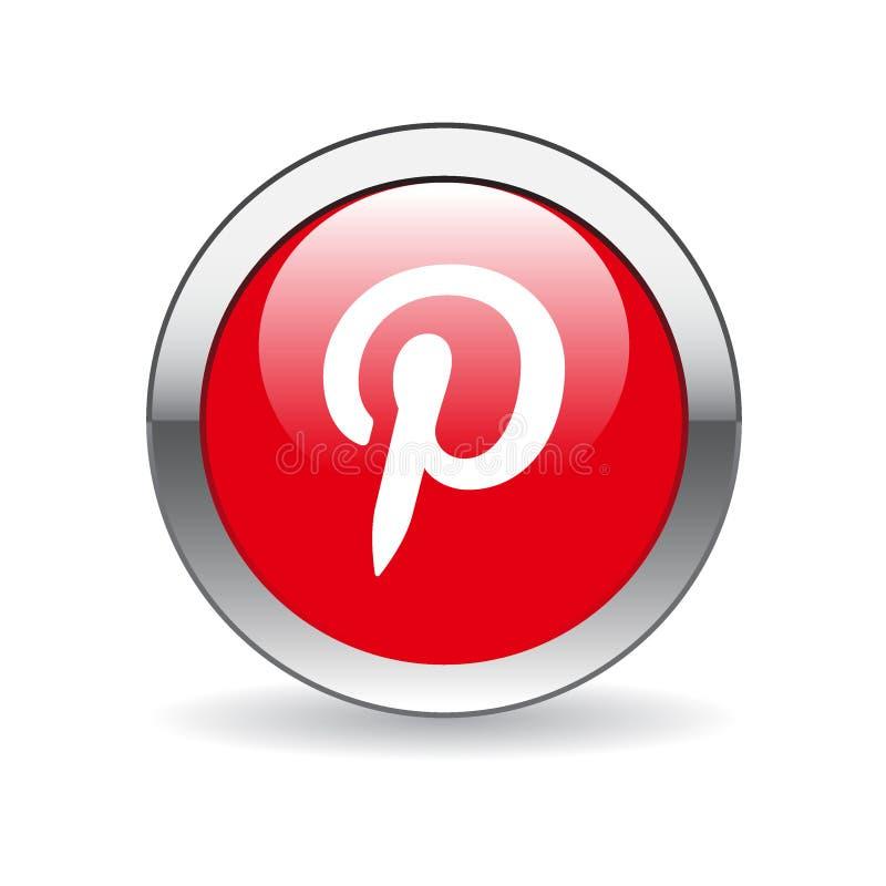 Κουμπί εικονιδίων Pinerest διανυσματική απεικόνιση