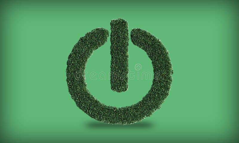 Κουμπί λειτουργίας με leafs ελεύθερη απεικόνιση δικαιώματος