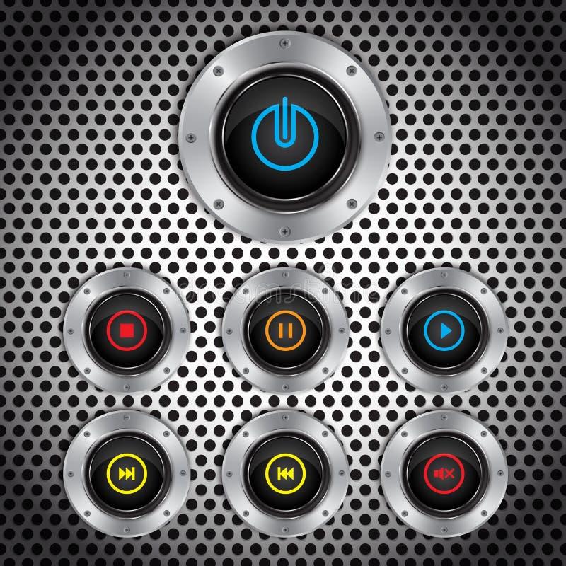 Κουμπί μετάλλων, έλεγχοι λογισμικού διακοπτών, διανυσματική απεικόνιση