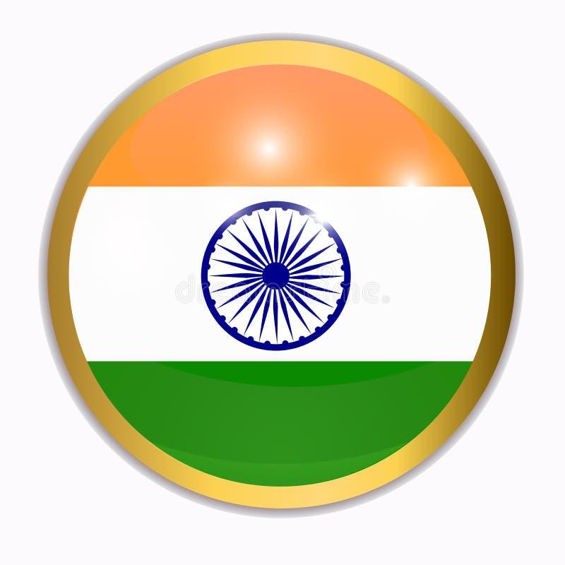 Κουμπί με τη σημαία της Ινδίας απεικόνιση ελεύθερη απεικόνιση δικαιώματος