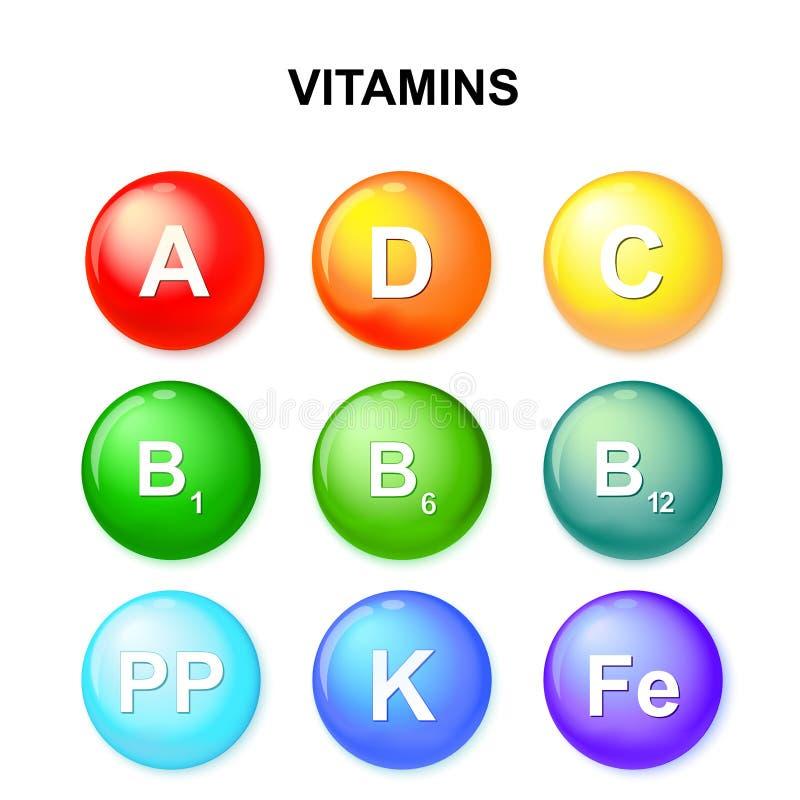 Κουμπί με τις βιταμίνες Σύνολο ελεύθερη απεικόνιση δικαιώματος