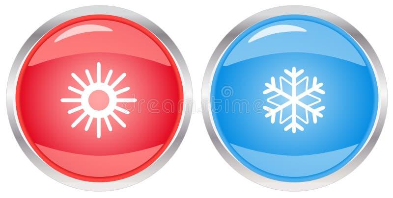 Κουμπί με snowflake και τον ήλιο απεικόνιση αποθεμάτων