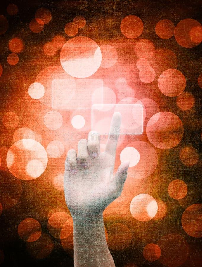 Κουμπί πίεσης χεριών σε μια οθόνη αφής ελεύθερη απεικόνιση δικαιώματος