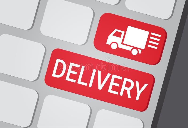 Κουμπί παράδοσης lap-top πληκτρολογίων στο γρήγορο αγγελιαφόρων εικονίδιο λογότυπων φορτηγών υπηρεσιών σαφές απεικόνιση αποθεμάτων