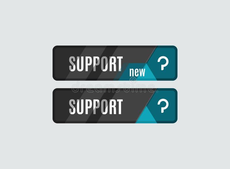 Κουμπί υποστήριξης, φουτουριστικό σχέδιο υψηλής τεχνολογίας UI απεικόνιση αποθεμάτων