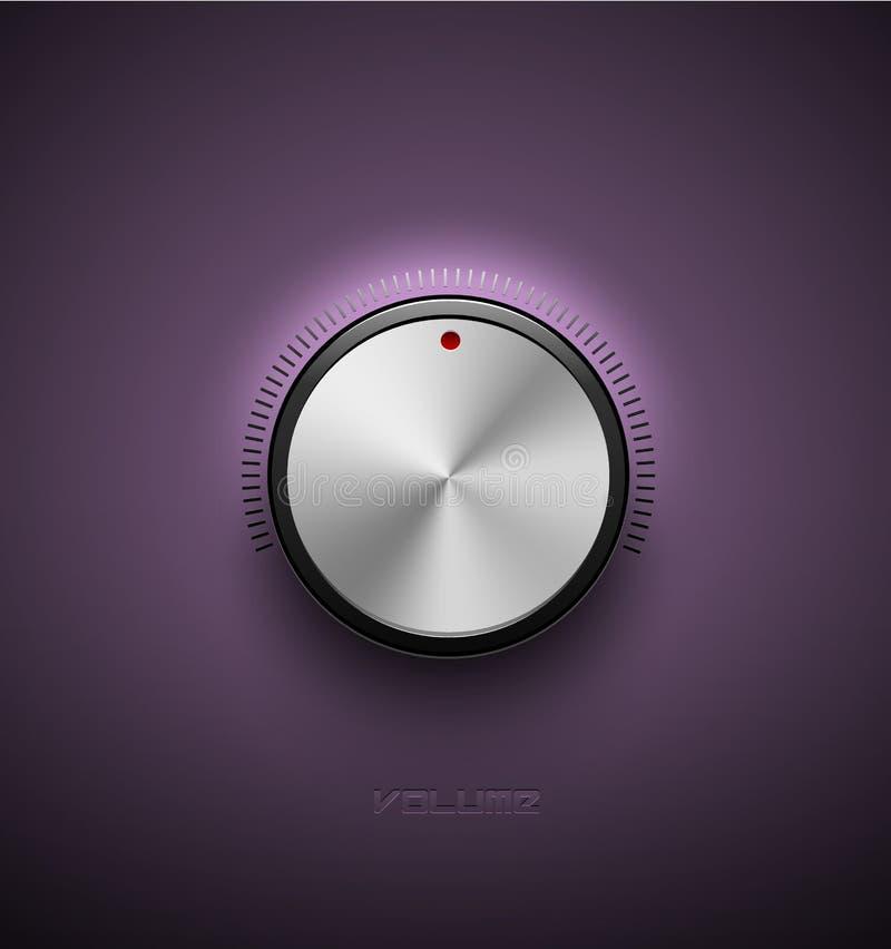 Κουμπί όγκου, υγιές εικονίδιο ελέγχου, αργίλιο μετάλλων εξογκωμάτων μουσικής ή σύσταση και κλίμακα χρωμίου με το μαύρο πορφυρό πλ απεικόνιση αποθεμάτων