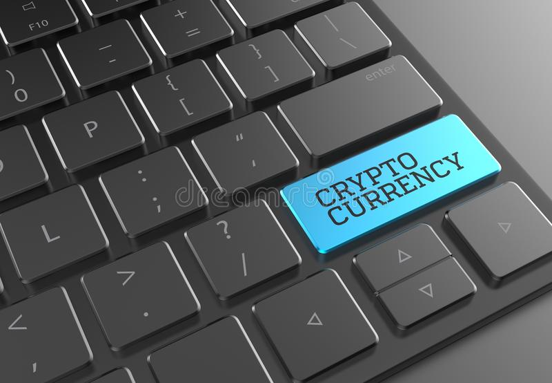 Κουμπί Cryptocurrency στο μαύρο σύγχρονο πληκτρολόγιο τρισδιάστατη επεξήγηση απεικόνιση αποθεμάτων