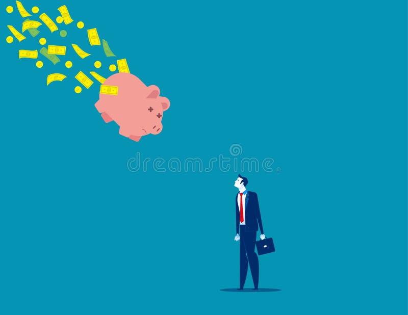 Κουμπαράς που πέφτει με τα χρήματα πετώντας μακριά Απεικόνιση επιχειρηματικού φορέα, κακή οικονομία, πρόβλημα, κίνδυνος διανυσματική απεικόνιση
