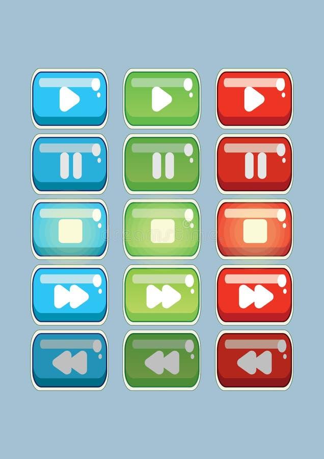 Κουμπιά βίντεο και παιχνιδιών για το παιχνίδι παιδιών σε τρία χρώματα διανυσματική απεικόνιση