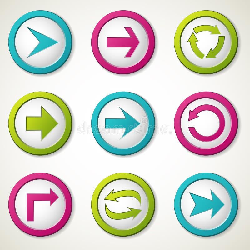 κουμπιά βελών διανυσματική απεικόνιση