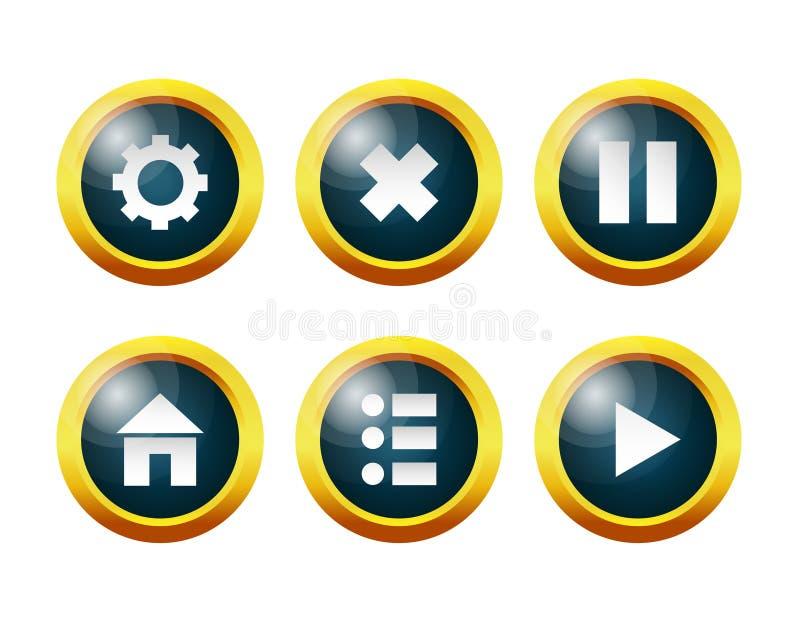 Κουμπιά γυαλιού: οι τοποθετήσεις, επιλογές, σπίτι, μικρή διακοπή, συνεχίζουν, βγαίνουν το παιχνίδι ελεύθερη απεικόνιση δικαιώματος