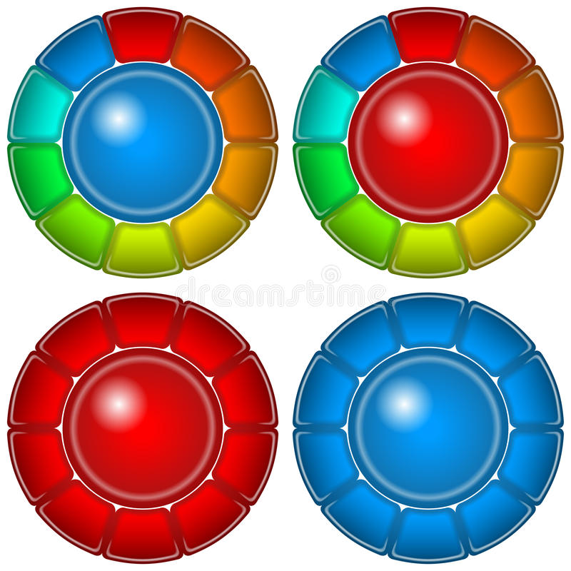 Κουμπιά γυαλιού με τα πλαίσια, σύνολο διανυσματική απεικόνιση