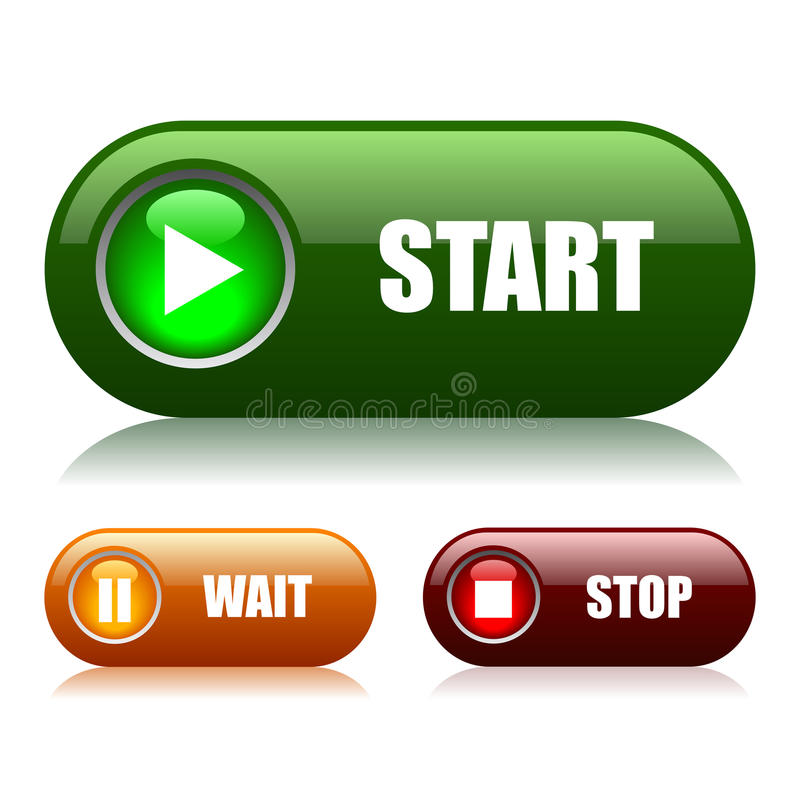 κουμπιά εκκίνησης-στάσης ελεύθερη απεικόνιση δικαιώματος