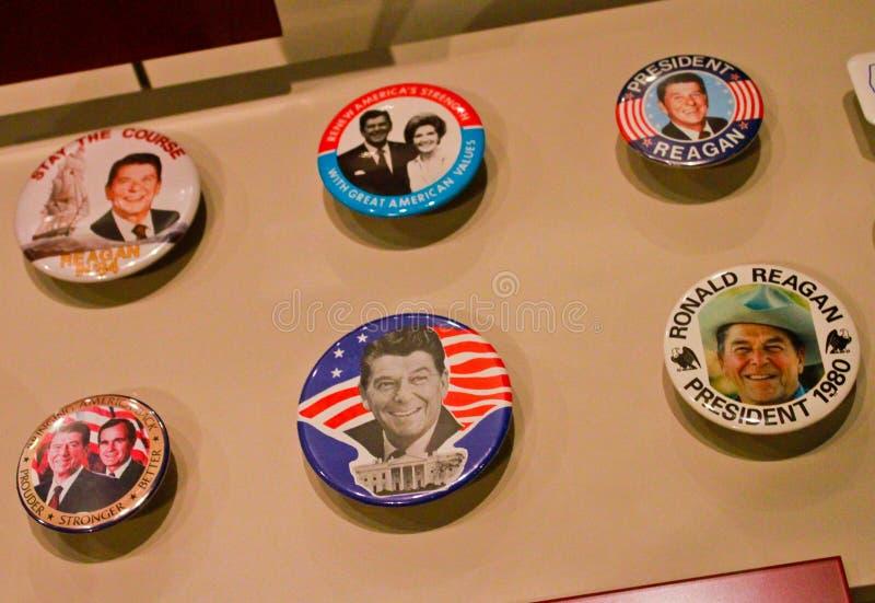 Κουμπιά εκστρατείας του Ronald Reagan στοκ εικόνες
