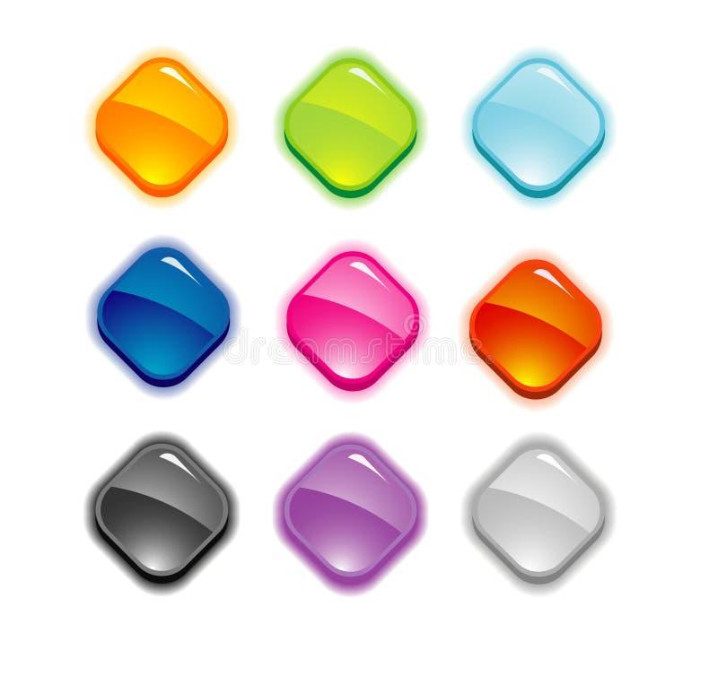 κουμπιά εννέα σύνολο διανυσματική απεικόνιση