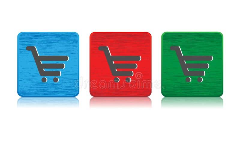 Κουμπιά Ιστού κάρρων αγορών ελεύθερη απεικόνιση δικαιώματος
