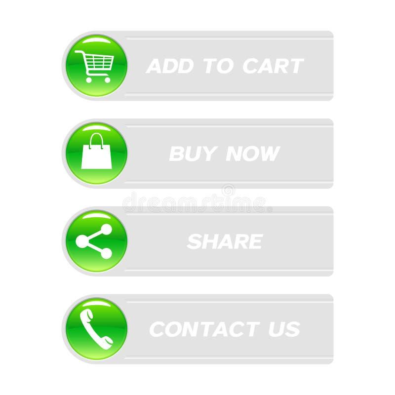 Κουμπιά Ιστού με τα εικονίδια αγορών ελεύθερη απεικόνιση δικαιώματος