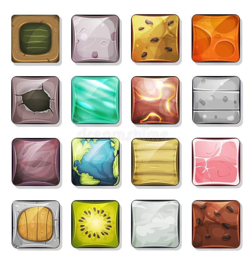 Κουμπιά και εικονίδια που τίθενται για κινητά App και το παιχνίδι Ui απεικόνιση αποθεμάτων