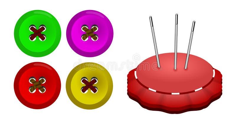 Κουμπιά και μαξιλάρι καρφιτσών στοκ φωτογραφία