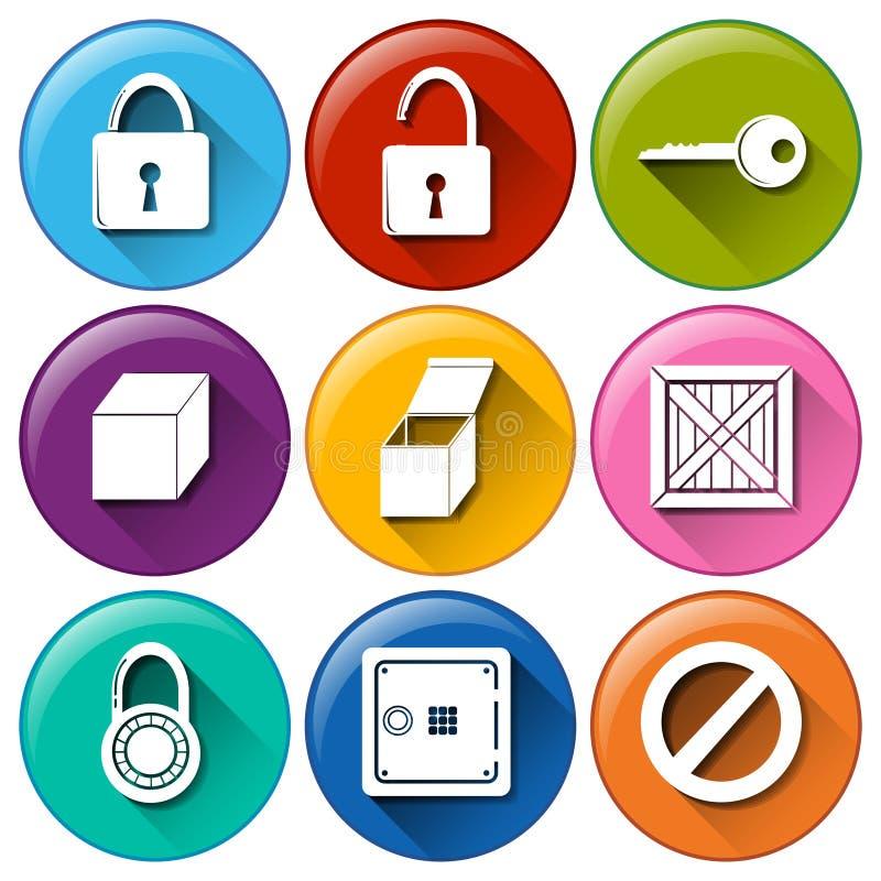 Κουμπιά με τις κλειδαριές ελεύθερη απεικόνιση δικαιώματος