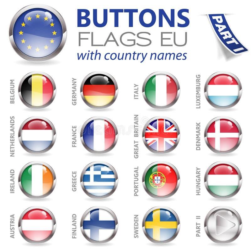 Κουμπιά με τις σημαίες της ΕΕ διανυσματική απεικόνιση