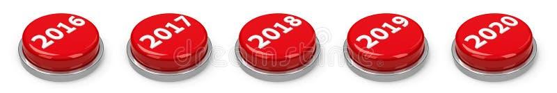 Κουμπιά - 2016 2017 2018 2019 2020 ελεύθερη απεικόνιση δικαιώματος