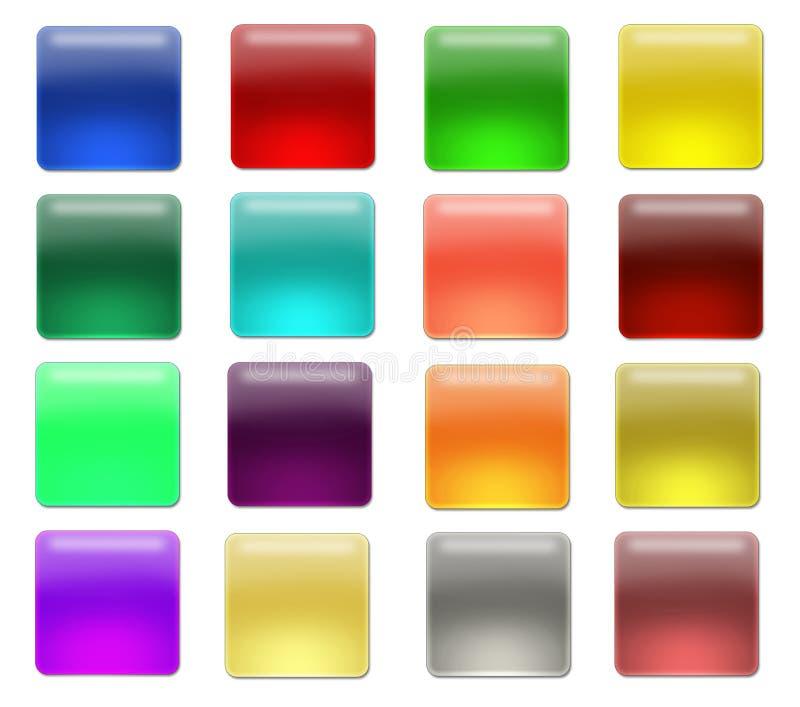 κουμπιά aqua blanc διανυσματική απεικόνιση